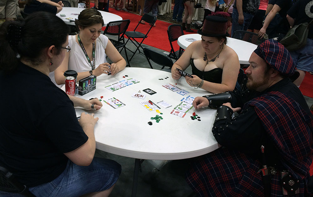 The other festivities never drown out the fact that Gen Con revolves around a love of games and gameplaying, as there's always tables with people who want to play games with you!